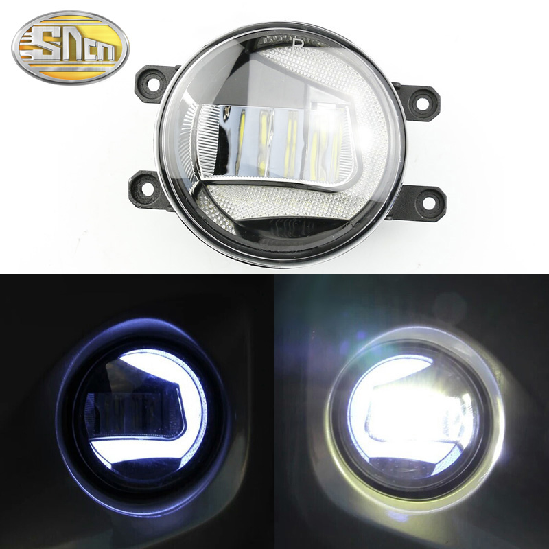 2 IN 1 Functions Safety Driving Auto LED Daytime Running Light Car Projector Fog Lamp For