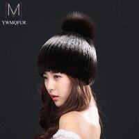 Ywmqfur Invierno Caliente sombreros para las mujeres sombrero de piel 2017 Venta caliente mutilcolor conejo Rex moda calidez invierno de las mujeres con orejas H888