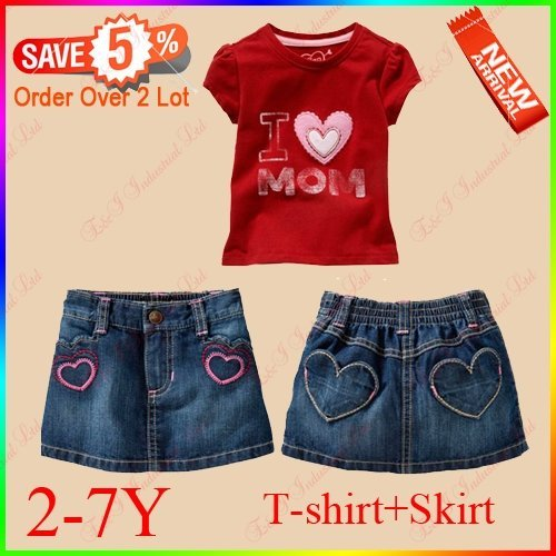 Wholesale - Fashion Summer Outerwear For Girl Red T-shirt + Jeans Mini Skirt Age Baby:2-7Y Girl Clothing Sets MOQ:6 sets/lot