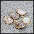 Charms natural Shell with pearl beads pendant with gold plated rim for necklace for jewelry making DIY material