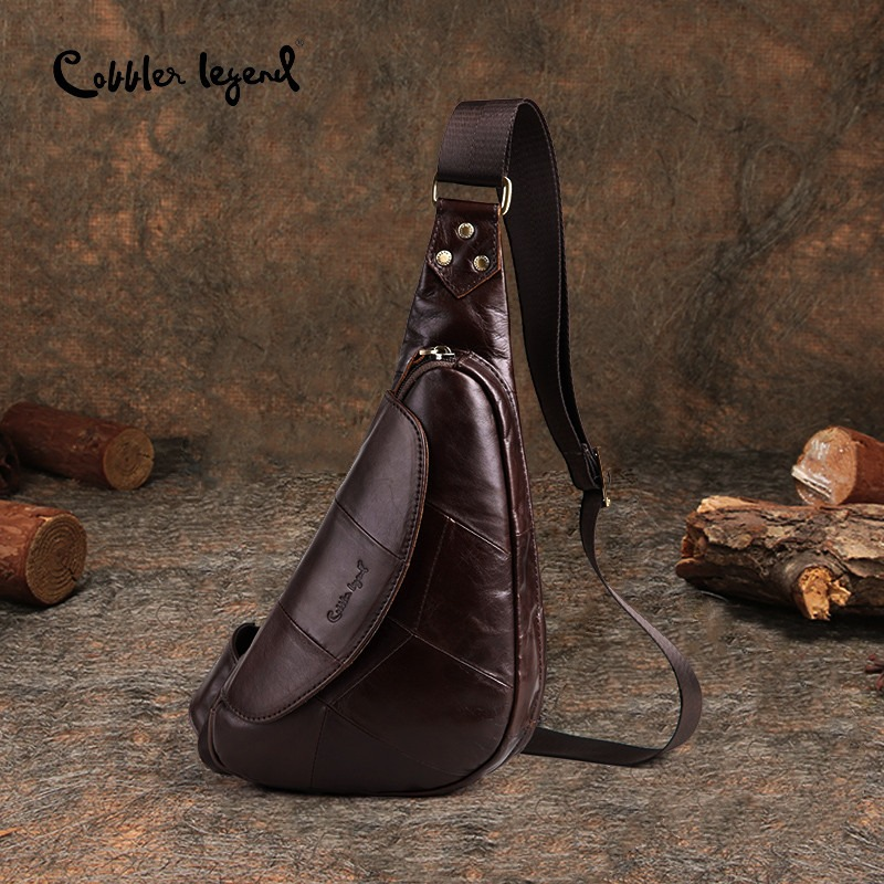 Cobbler Legend 2018 Pravo usnje Casual Cowhide Chest Pack Big England Style Moški Moška torba Moške Messenger Bag 1205086-1