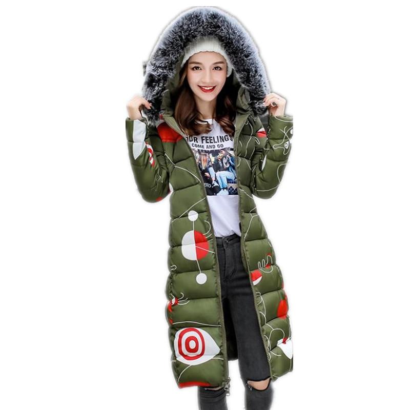 Womens Coat Medium-Long Lady Winter   Parkas   Jackets Hooded Fur Collar Outerwear 2018 Warm Casaco Feminina Inverno   Parkas   Q1001