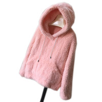 Real mink fur jackets with hood white winter genuine mink fur coats for women autumn pink fur pullover outwear gray black C148