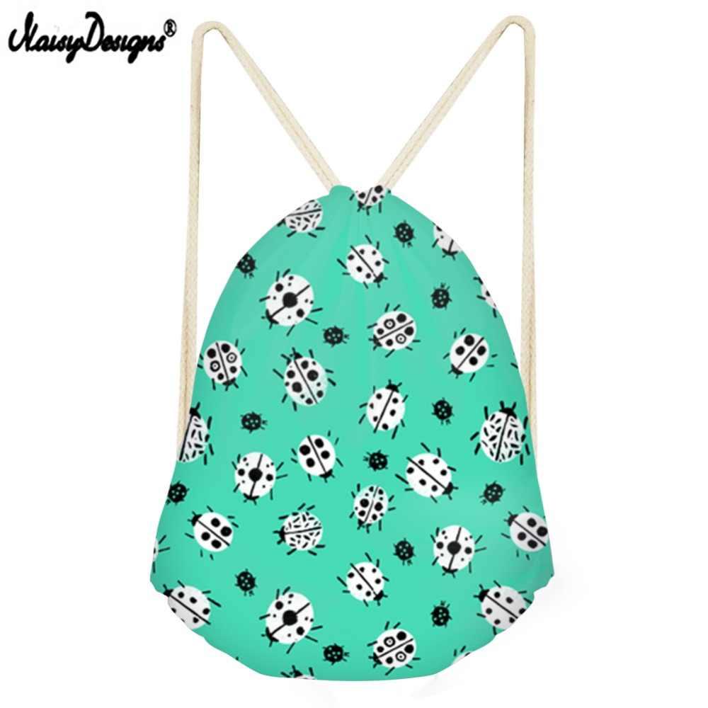 Noisydesigns Drop Shipping piknikowa torba ze sznurkiem dla dziewczynek chłopcy biedronka wydrukowano kobiety mężczyźni plecak Anime dziecięca torba na prezent na przyjęcie