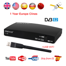 1 Year Valid Europe Clines D4S PRO DVB-S2 Satellite Receiver HD FTA Satellite TV Receptor D4S-pro Decoder MPEG-5 YouTube 3G WIFI