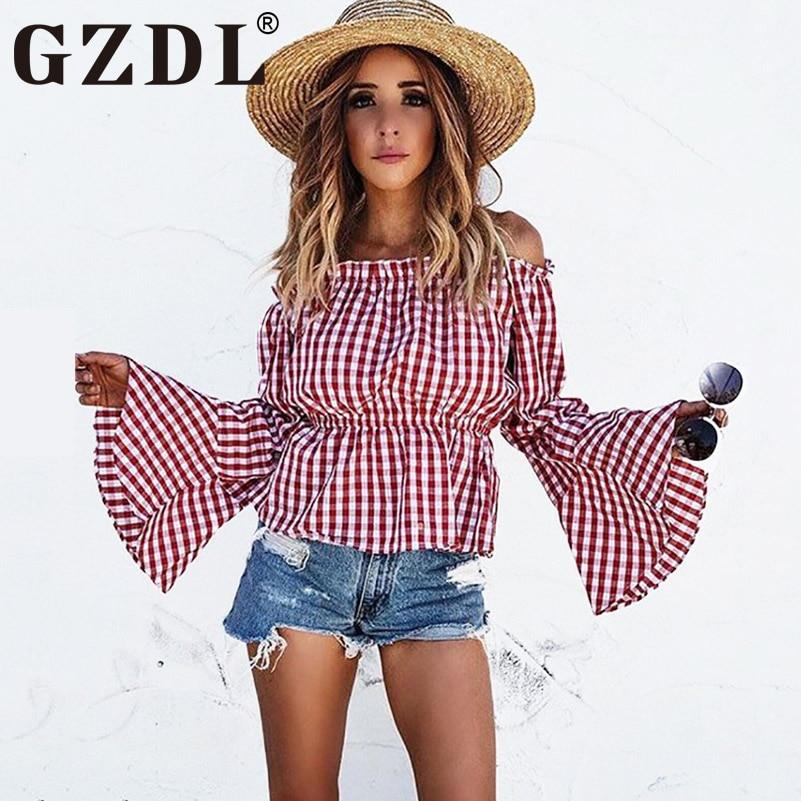 GZDL Boho Women Flare Long Sleeve Red Plaid Tops Women Slash Neck Off Shoulder Blouses Shirts Casual Ruffles Blusas CL3203
