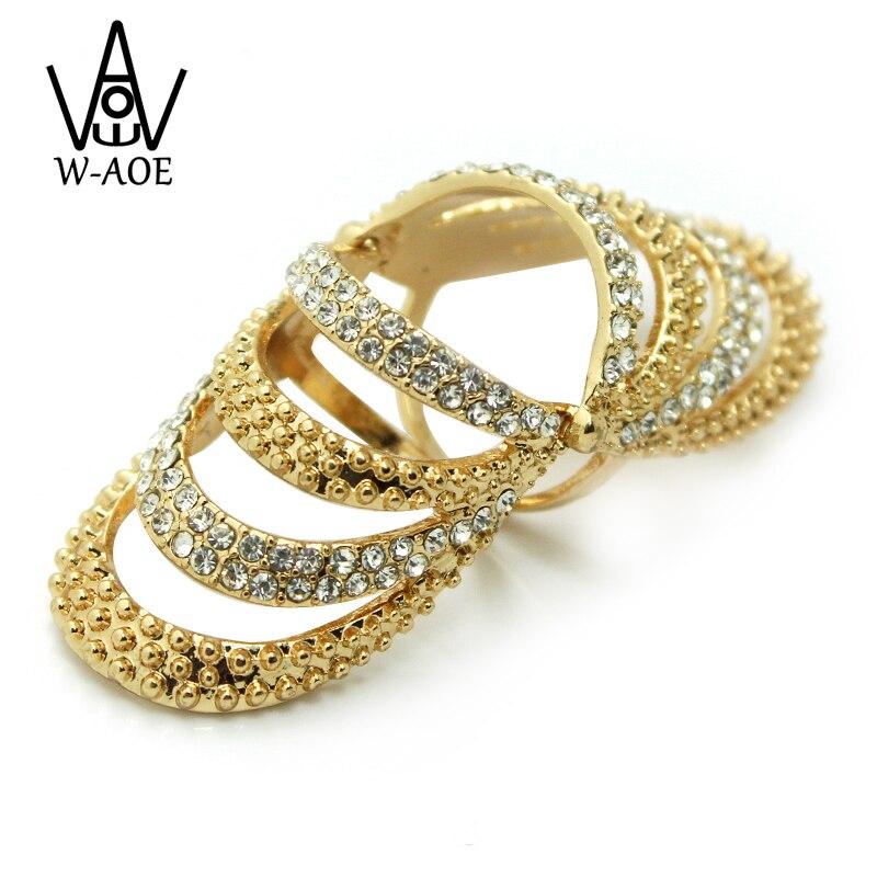 2019 нови пристигащи модни бижута злато цвят кокал пръстени за жени момиче кристал пълен пръст пънк съвместно пръстен парти подарък  t