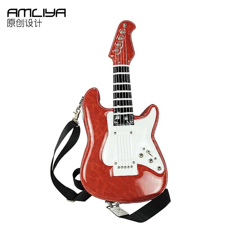 Free shipping 2017 amliya personality guitar bag handbag messenger bag fashion handbag street fashion women's bag  цена и фото