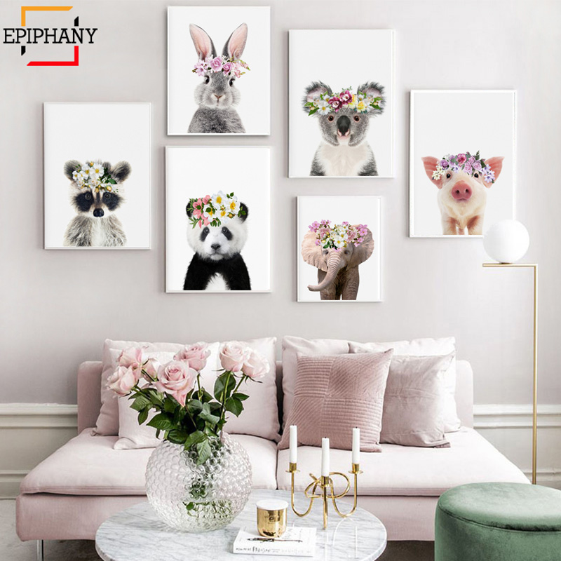Girls Nursery Decor Baby Animals Lamb Rabbit Koala Pig Elephant With Flower Crown Print Anime Poster Kids Room Painting Picture