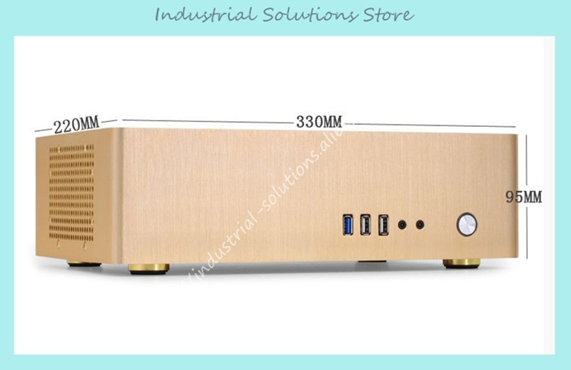 NEW small horizontal MINI ITX HTPC chassis include power supply Aluminum computer case new 2u lengthen server computer case 2u power supply general power supply yt23650 computer case box