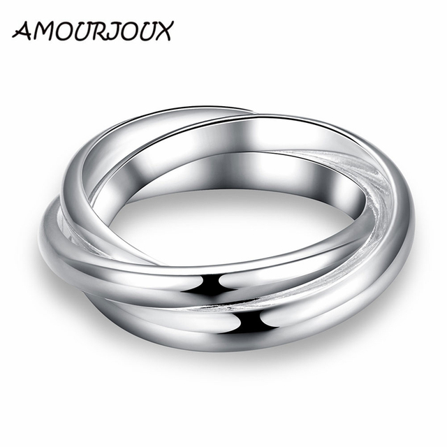 AMOURJOUX Wedding Party Jewelry Triple Circle Silver Plated Rings For Women Fema
