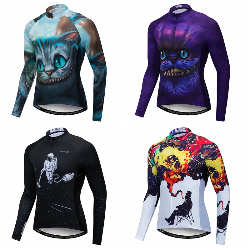 2019 Cycling Jersey Men 3D Mtb Bicycle Clothing Long Sleeve Bike Shirt Top Sports Wear Clothes Maillot Roupa De Ciclismo Cat Dog