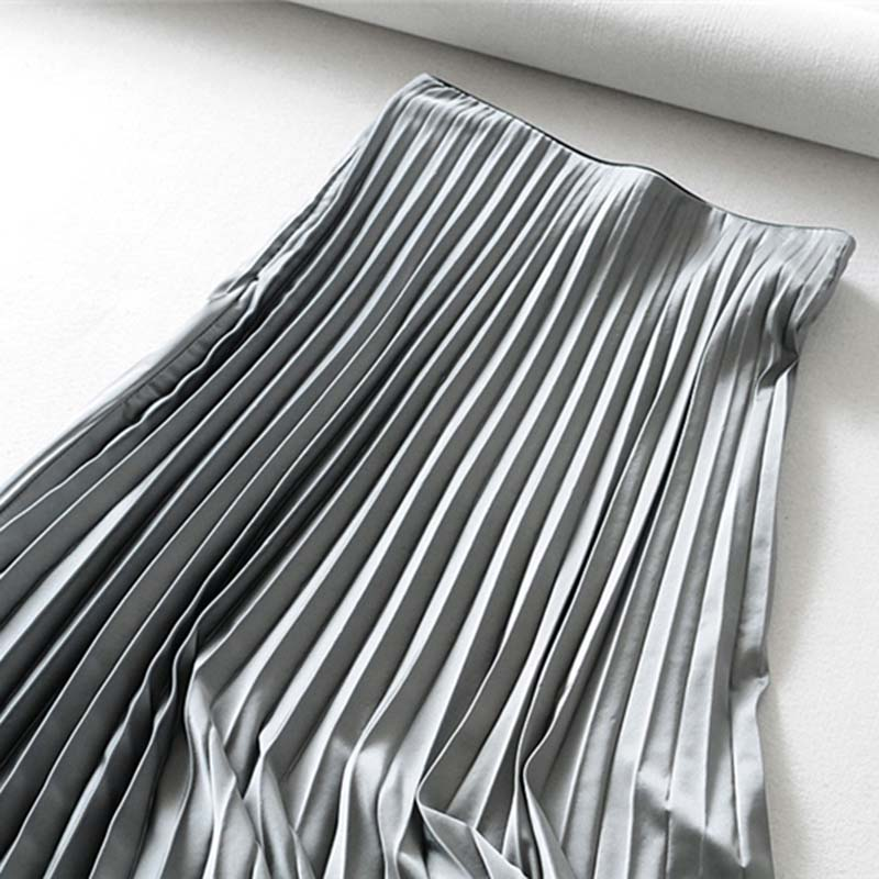 Fashion Lady Pleated Long Skirt  Spring Loose Soild High Waist Length Skirt All-match Womens Party Casual Ankle-Length Skirts