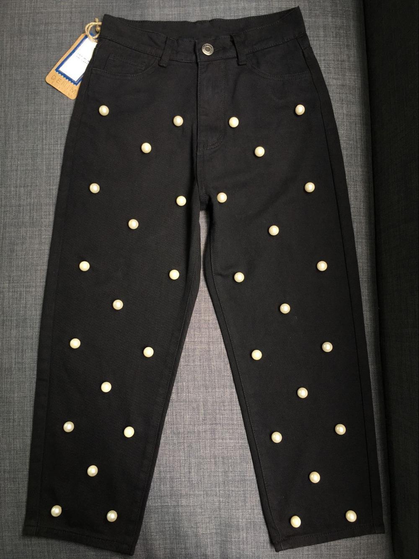 2017 Women`s high waist straight loose wide leg cowboy broken pants pendant big pearl lady pants street wild (12)
