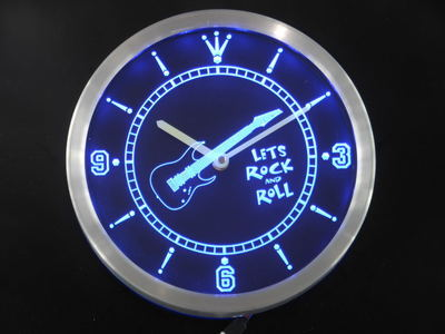 nc0368 Guitar Let Rock n Roll Bar Beer Neon Sign LED Wall Clock