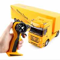 2.4g rc heavry brinquedo de controle remoto ponta caminhão elevador automático engenheiro 1:32 rc recipiente carro veículo brinquedos presente brinquedos
