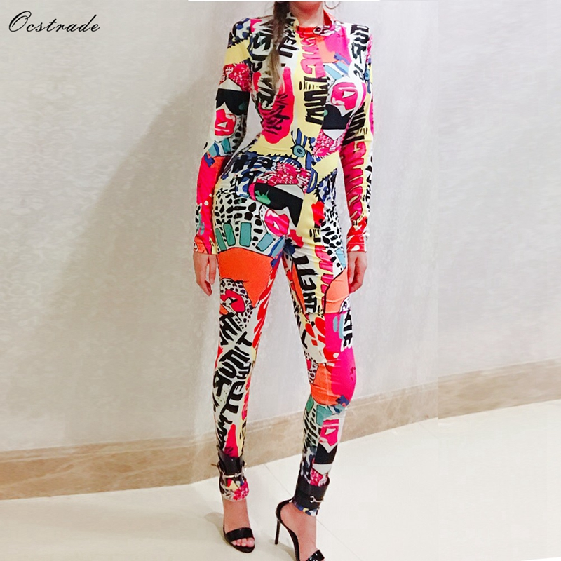 Ocstrade Woman 2019 Bodycon Outfit New Fashion Women Multicolor Printed One Piece Long Sleeve Bodycon   Jumpsuit