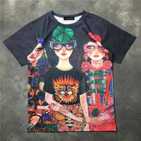 Fashion women casual loose T shirts 2018 summer cartoon girl print Tee shirts Women/man Tops Tees S413