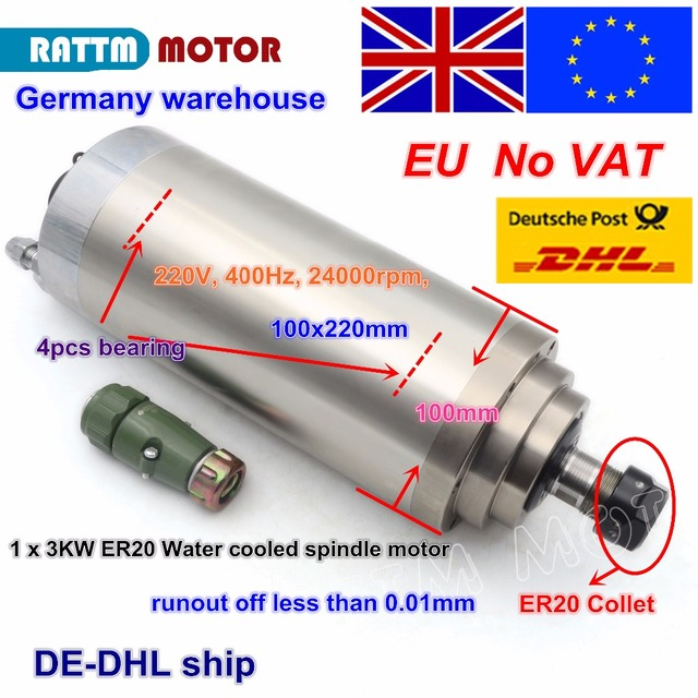 EU free VAT 3KW 12A WATER COOLED SPINDLE MOTOR ER20 4 Bearings 100x220mm 220V 3 Phase for CNC ROUTER ENGRAVING MILLING Machine