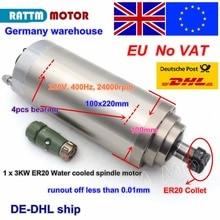 Eu Gratis Btw 3KW 12A Watergekoelde Spindel Motor ER20 4 Lagers 100X220 Mm 220V 3 fase Voor Cnc Router Graveren Freesmachine