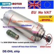 Ue bezpłatny VAT 3KW 12A chłodzony wodą silnik wrzeciona ER20 4 łożyska 100x220mm 220V 3 fazy dla CNC ROUTER maszyna grawerująca