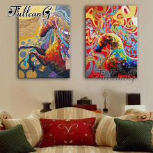 FULLCANG 2pcs/set diy diamond painting abstract colorful unicorn 5d cross stitch diamant embroidery full square drill G1325