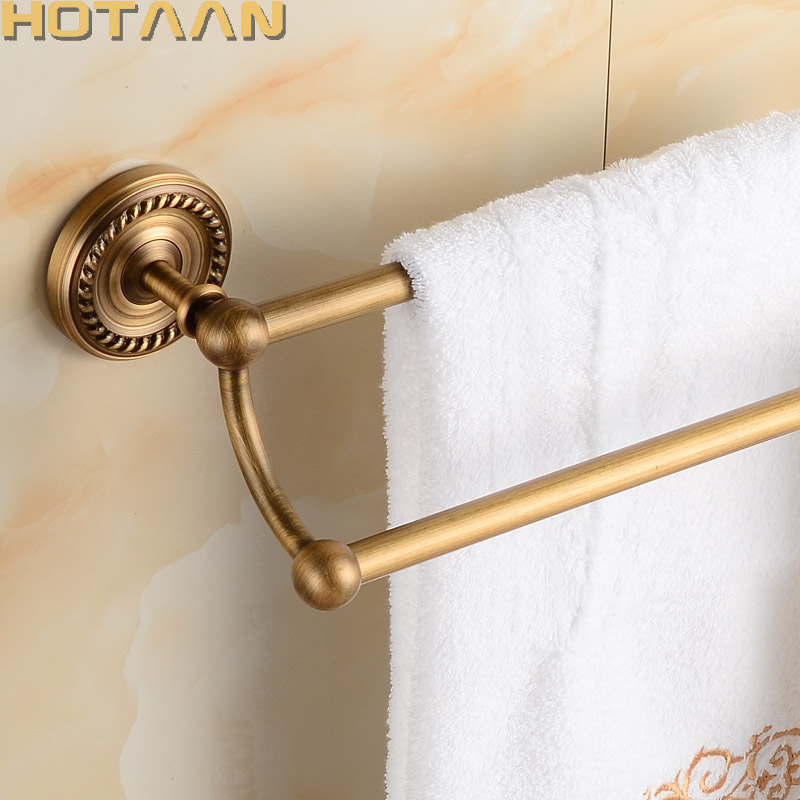 Antique Brass Bathroom towel holder,Double towel bar, towel rack solid brass towel rack 30/40/45/50/60cm YT-12298 free shipping bathroom towel holder zinc alloy antique brass towel rack 60cm bath towel rack yt 4011