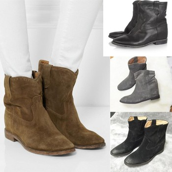 Fashion Suede Womens Shoes Wedge Vintage Ankle Boots Genuine Lether Women's Slip On Snow Boots 2019 New Warm Womens Flat Shoes