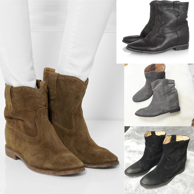 Moda Suede mujer zapatos cuña Vintage tobillo botas cuero genuino mujeres Slip On Snow botas 2019 nuevas mujeres calientes zapatos planos zapatos-in Botas hasta el tobillo from zapatos    1