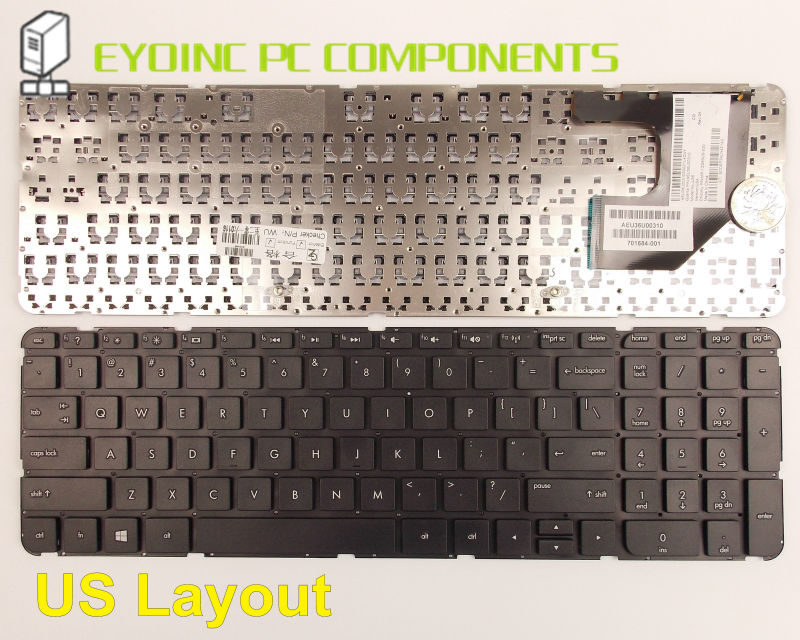 Laptop Keyboard For HP Pavilion TouchSmart Sleekbook 15-B 15-b000 15-b100 15-b107cl 15-b108au Without Frame US Version laptop keyboard for acer silver without frame norwegian nor v 121646ck2 nw aezqsw00110