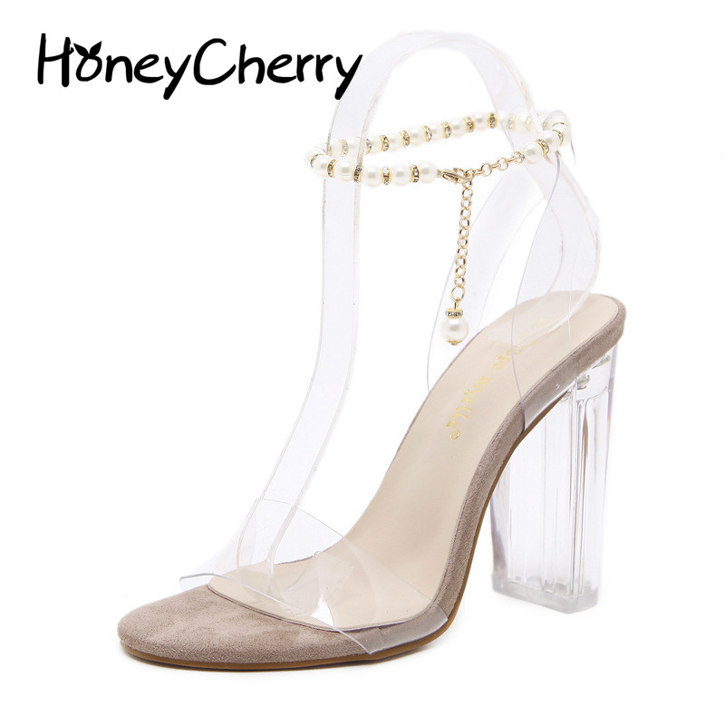 2018 Summer New Thick With Transparent Women Sandals Europe And The United States With Open-toe Crystal Sandals, Women Shoes
