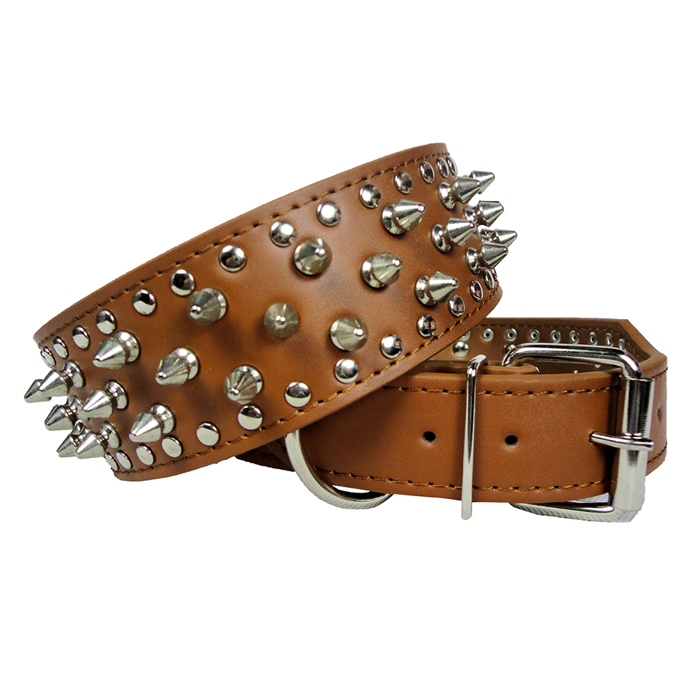 Studded Leather Collars for Pitbull Dog Boxer German Shepherd 5 Colors Size XS S M L 15-24 Inch
