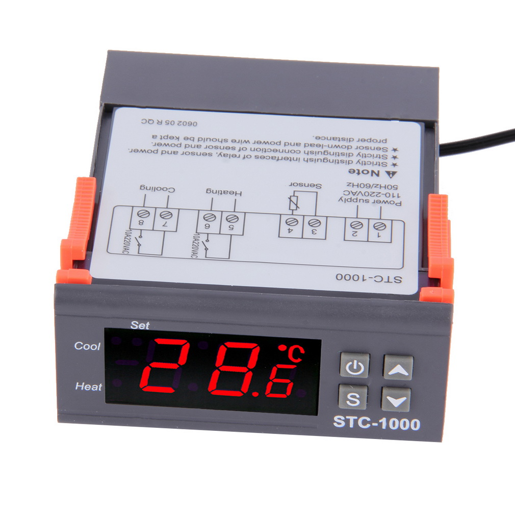 Svart Digital STC-1000 LCD Temperaturregulator Termostat Med NTC Sensortemperatur Instrument Diagnostisk Aquarium Tool