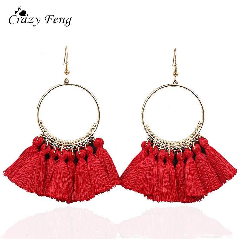 Crazy Feng T Show European Style Tassel Earrings Women Red Blue Yellow Bohemian Fringed Dangle Earrings Statement Jewelry Gift