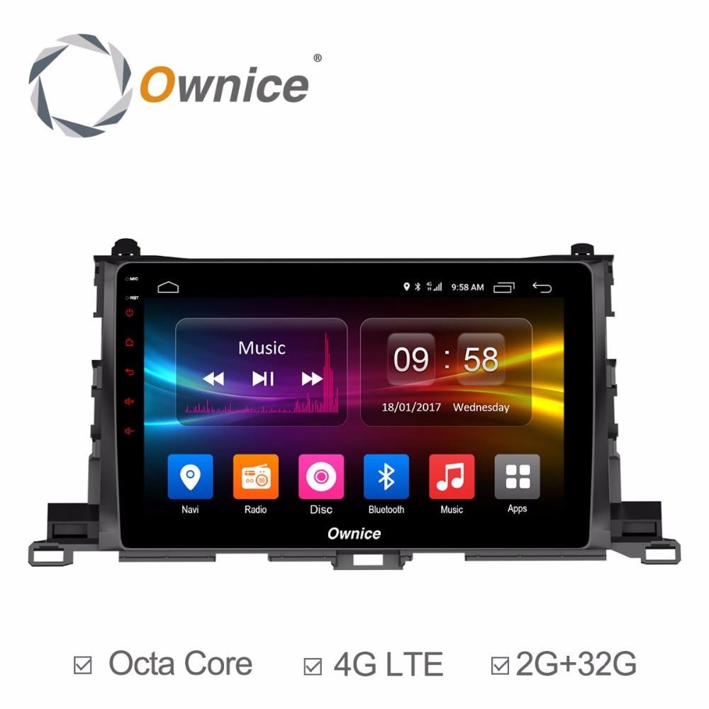 Ownice для Toyota Highlander 2015 android-автомобильный dvd-радио мультимедийный плеер gps BT Аудио PC gps навигации Системы стерео DVR DAB