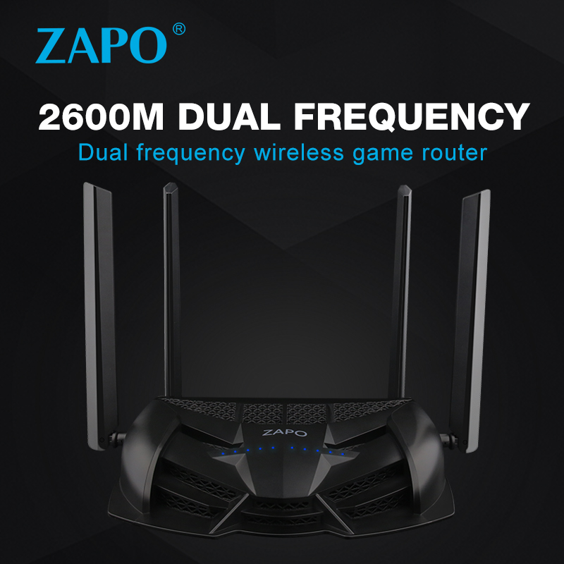 Gaming ZAPO 2.4G/5GHz Top Chip AC 2600Mbps WiFi Router Wireless 16MB Flash High Gain Antennas USB Storage Repeater Strong Signal