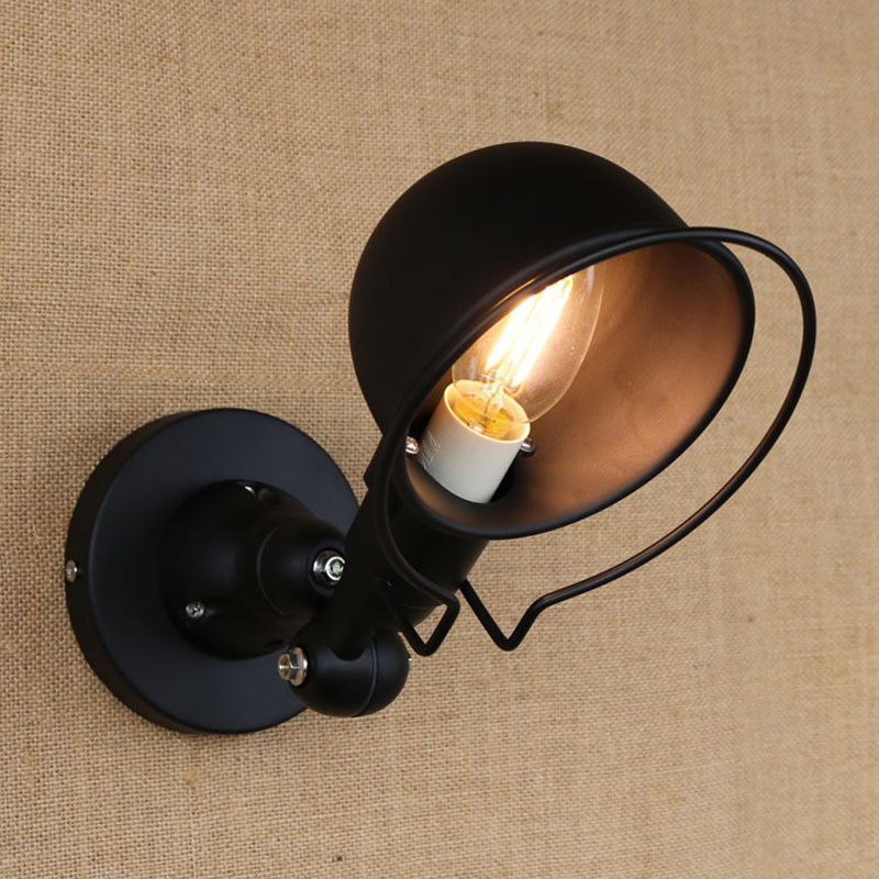 Black retro retractable double folding lever arm wall lamp without switch