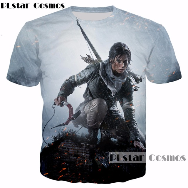 144bb7429 PLstar Cosmos 2017 New design Classic game Tomb Raider 3d T-shirt  characters Lara Croft print summer style casual t shirt tops