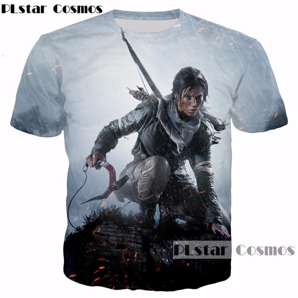 PLstar Cosmos 2017 New design Classic game Tomb Raider 3d T-shirt characters Lara Croft print summer style casual t shirt tops