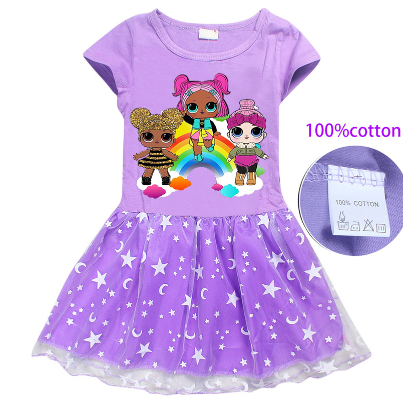 Summer new arrival Girl Dress Cartoon Children Clothes Cotton Casual Short Sleeve Baby Girls Princess Birthday party Dresses