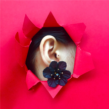 Flower Earrings Black Korea CHIC Style Temperament Fairy Series White Crystal Exaggerated