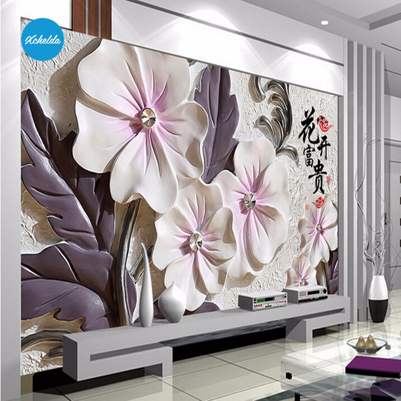XCHELDA 3D Mural Wallpapers Custom Painting Ceramic Peony Design Background Bedroom Living Room Wall Murals Papel De Parede custom 3d wall murals wallpaper luxury silk diamond home decoration wall art mural painting living room bedroom papel de parede