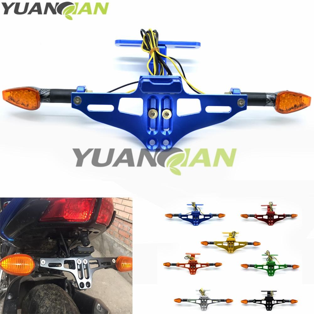 Motorcycle Adjustable License Number <font><b>Plate</b></font> Frame Holder Bracket with light For <font><b>Yamaha</b></font> R3 R25 YZF R1 YZF R6 T-MAX500 TMAX530 mt09