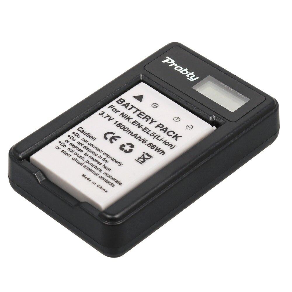 Probty 1 unids EN-EL5 ENEL5 batería + LCD USB cargador para Nikon P90 P100 P500 P510 P520 P3 P4 P5000 P5100 P6000 P80 S10 4200, 5200
