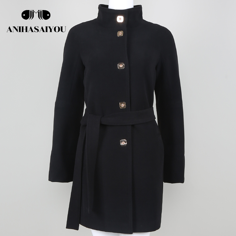2018 fashion Brand Design Winter Coat Women Warm Wool Coat Long Womens Cashmere Coat European Fashion Jacket Outwear Casual
