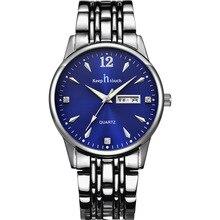 В курсе модные Повседневное Календари Водонепроницаемый наручные часы wo Для мужчин S Для мужчин кварцевые Нержавеющаясталь ремень любителей Часы пару часов
