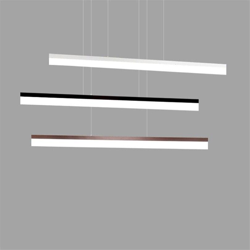 Nordique moderne pendentif lumières LED minimaliste salon longue bande Restaurant bureau Hanglamp créatif salle à manger suspension lampe - 4