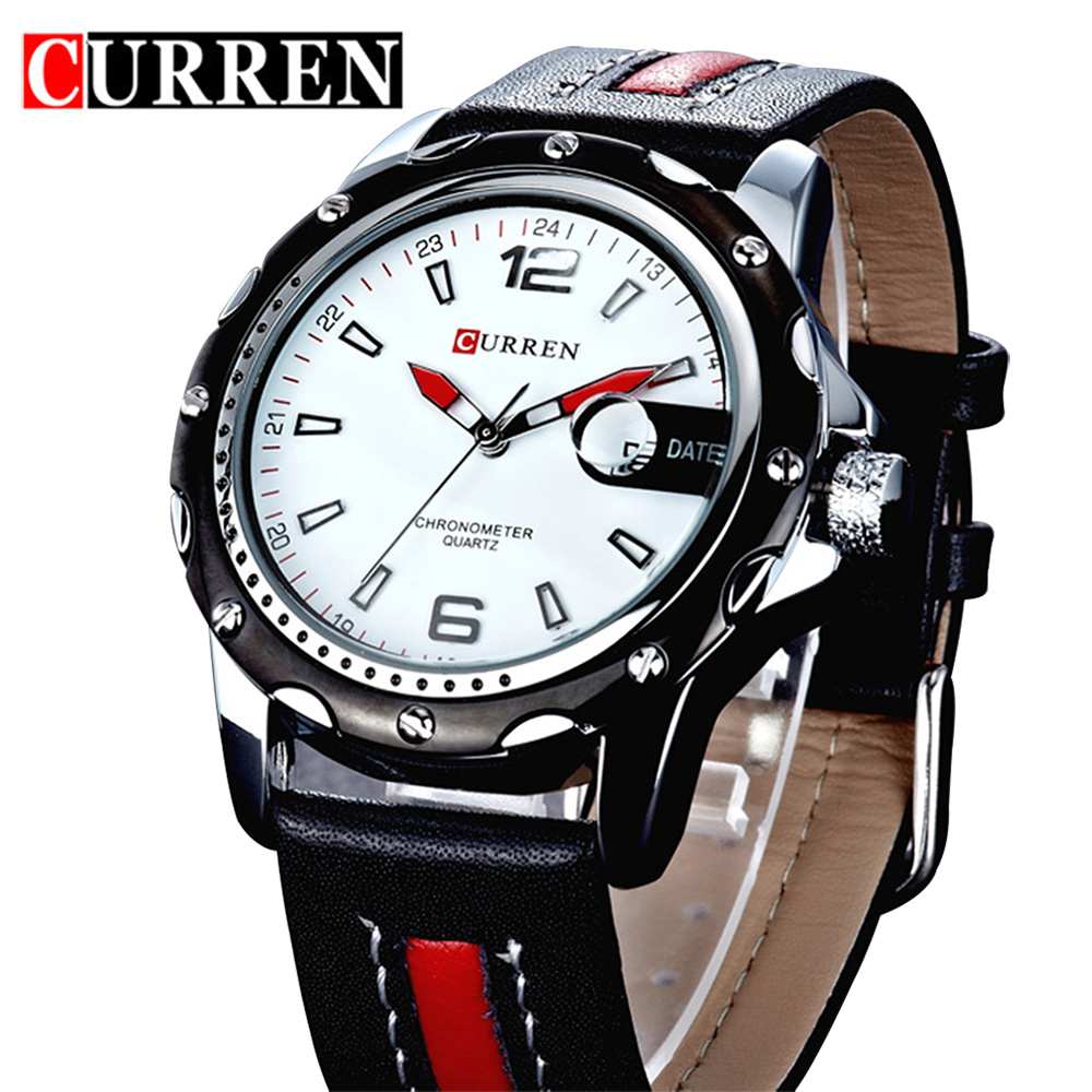 New Fashion Curren Brand Sport Watches Men Leather Strap Quartz Wrist Watches 3ATM WATERPROOF Mens Clock Male Wristwatches xinge top brand luxury leather strap military watches male sport clock business 2017 quartz men fashion wrist watches xg1080