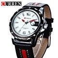 Nueva moda curren marca relojes deportivos hombres de cuarzo correa de cuero relojes 3atm impermeable para hombre reloj de hombre relojes de pulsera