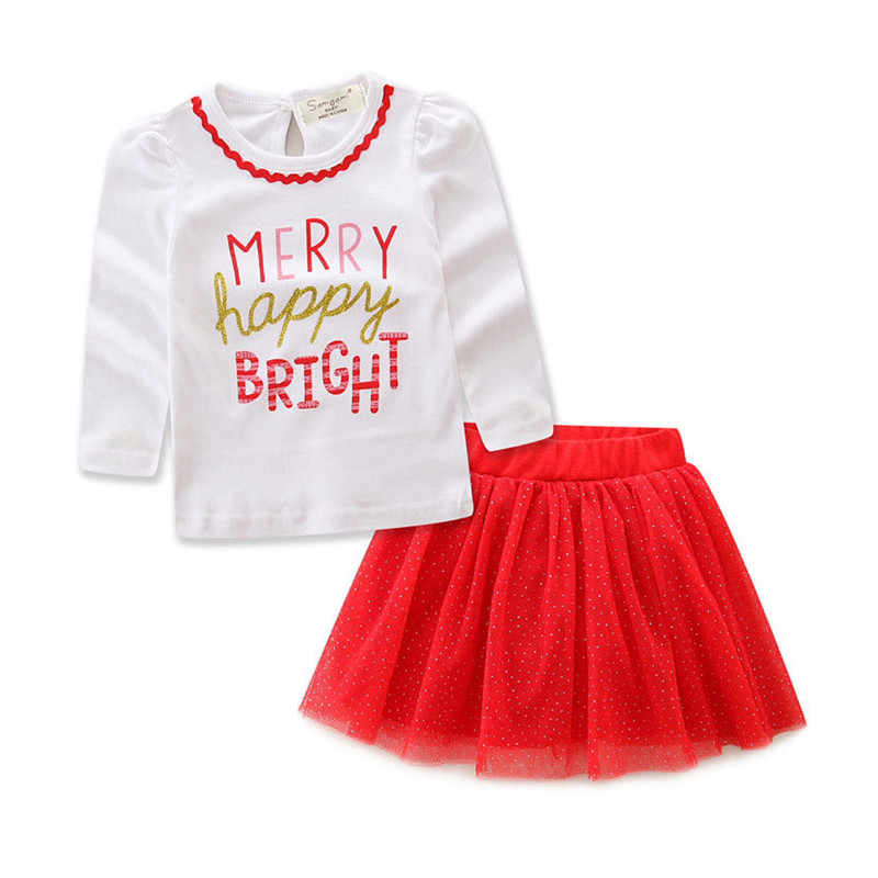 1 to 7T Toddler Kids Baby Girls Clothes Long Sleeve T-shirt Tops+Skirt 2pcs Outfits Baby Clothing Set